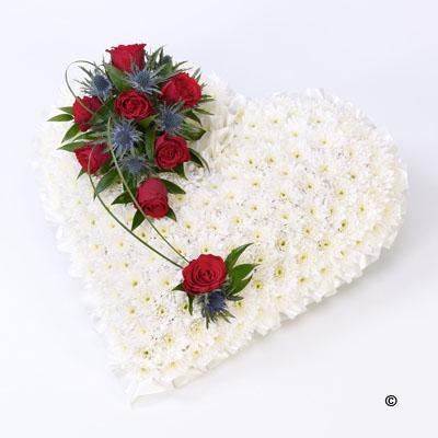 Classic White Heart with Red Roses *