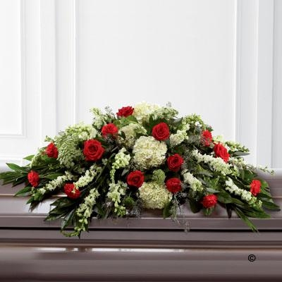 Mixed Casket Spray   Red and Green *